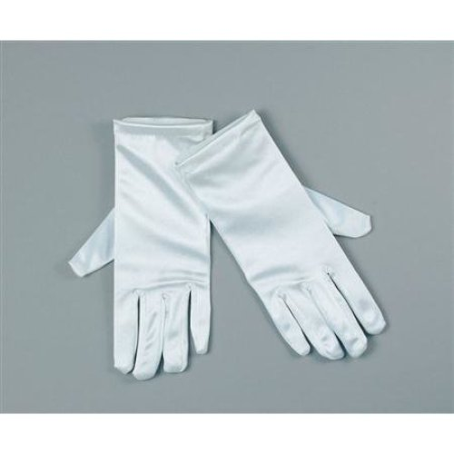 "9"" White Satin Adults Gloves -  gloves white fancy dress satin short ladies"