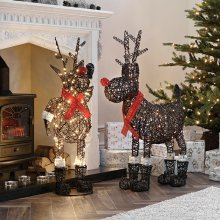 Winter Workshop - 100cm & 80cm Battery or Mains Operated Outdoor Rattan Rudolph Reindeer Christmas Figures - Multi-Functional LED Lights