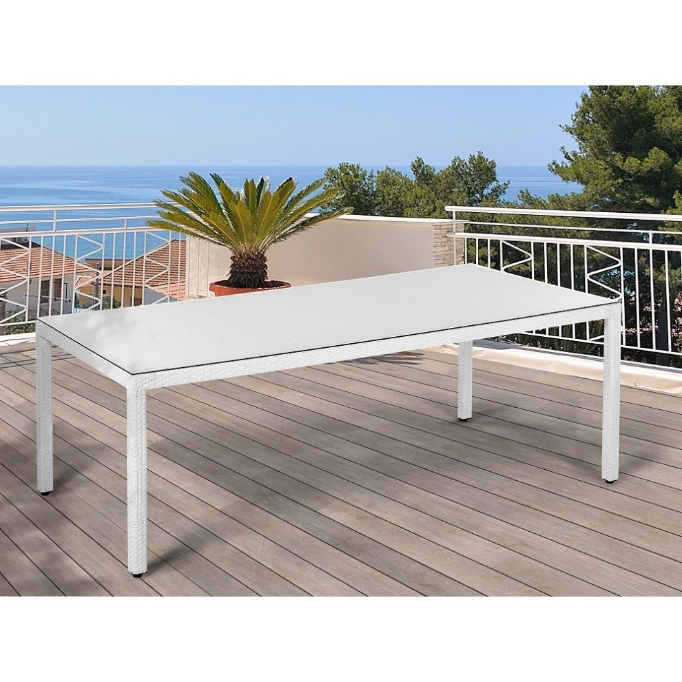 Garden table outdoor dining table rattan 220 cm white italy on onbuy