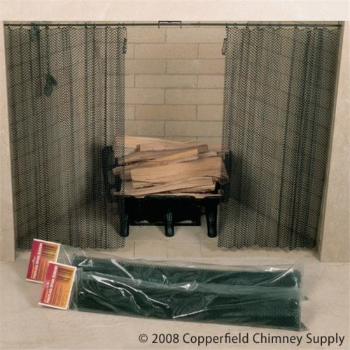 Masewa Metal Net Co.  Ltd  48 Inch  x 30 Inch  Hanging Fireplace Spark Screen  Rod Not Included