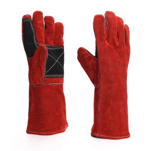 Welders Gauntlet Wood Burner Gloves SPRAWL to Protect Arm Heat Resistant 34-35cm (Red)