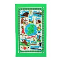 Around Ireland Tea Towel Souvenir Gift Cotton Map Castle Irish Eire Harp Green