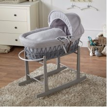 Grey Waffle Grey Wicker Moses Basket And Grey Rocking Stand
