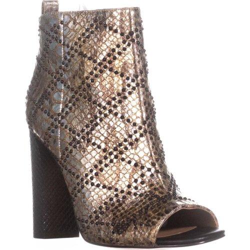 Calvin Klein Jules Peep Toe Ankle Booties, Gold, 6 UK