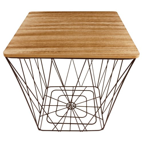 Square Black Geometric Table Metal Wire Wood Side End Storage Table