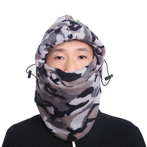 TRIXES Unisex Half Face Fleece Balaclava Hood – Grey Camouflage Print