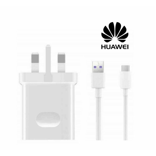 Huawei HW-050450B00 SuperCharge 4.5A White UK Charger with Type-C Data Cable