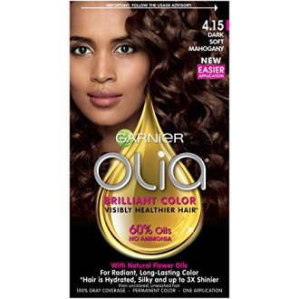 Garnier Olia Hair Color, 4.15 Dark Soft Mahogany, Ammonia Free Red Hair Dye (Packaging May Vary)