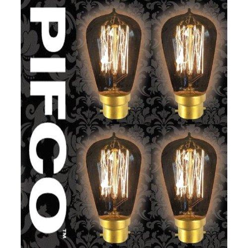 4 X PIFCO ST58 40 Watt B22 Bayonet Vintage Squirrel Cage Retro Light Bulbs