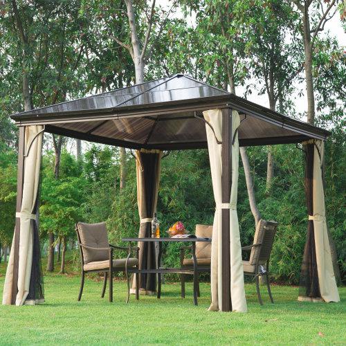 Outsunny 3 x 3m Garden Gazebo Outdoor PC Board Roof Canopy w/ Mosquito Net