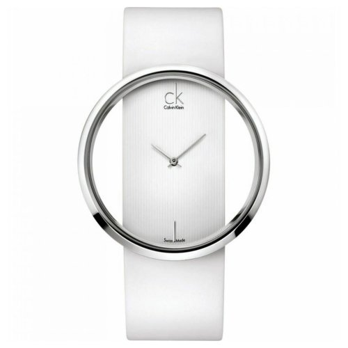 Calvin Klein Glam White Dial Leather Strap Ladies Watch K9423101
