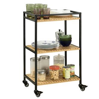 SoBuy® FKW65-N, 3 Tiers Metal Bamboo Serving Trolley Kitchen Trolley