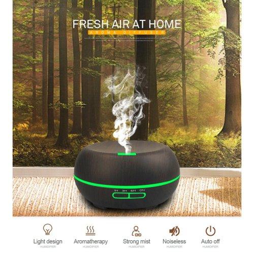 300ML Capacity Wood Grain Model Essential Oil Diffuser Ultrasonic Aromatherapy 7 LED Color Lamp
