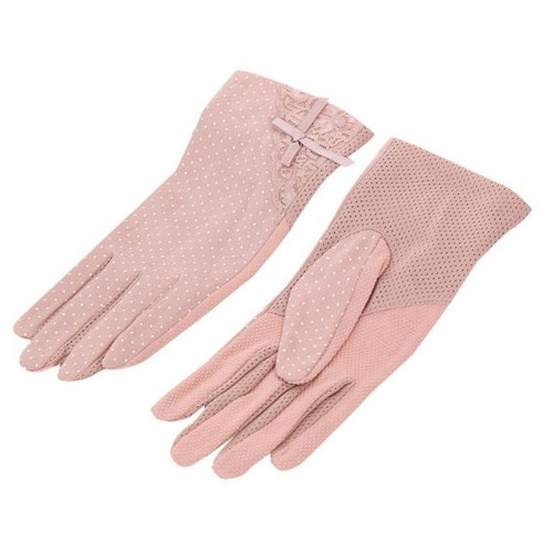 Women Cycling Gloves Bicycle Riding Gloves Lace Bike Gloves Leather Pink