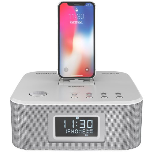 AZATOM Home Hub Lightning Dock Radio Alarm Clock radio 30W Bluetooth (White)