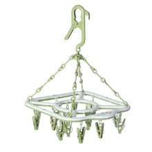 Quality Non-Slip Clothes Drying Rack Clip and Drip Hanger 18 Clips - Green