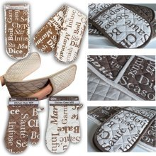 Cooking Words Single Oven Mitt - 2 Assorted Designs. - Cotton Double Gloves -  cotton single double oven gloves kitchen bbq 100 quilted apron holder