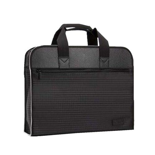 Portable Document Bag Zipper Bag Multi-layered Data Bag Briefcase, Black-1