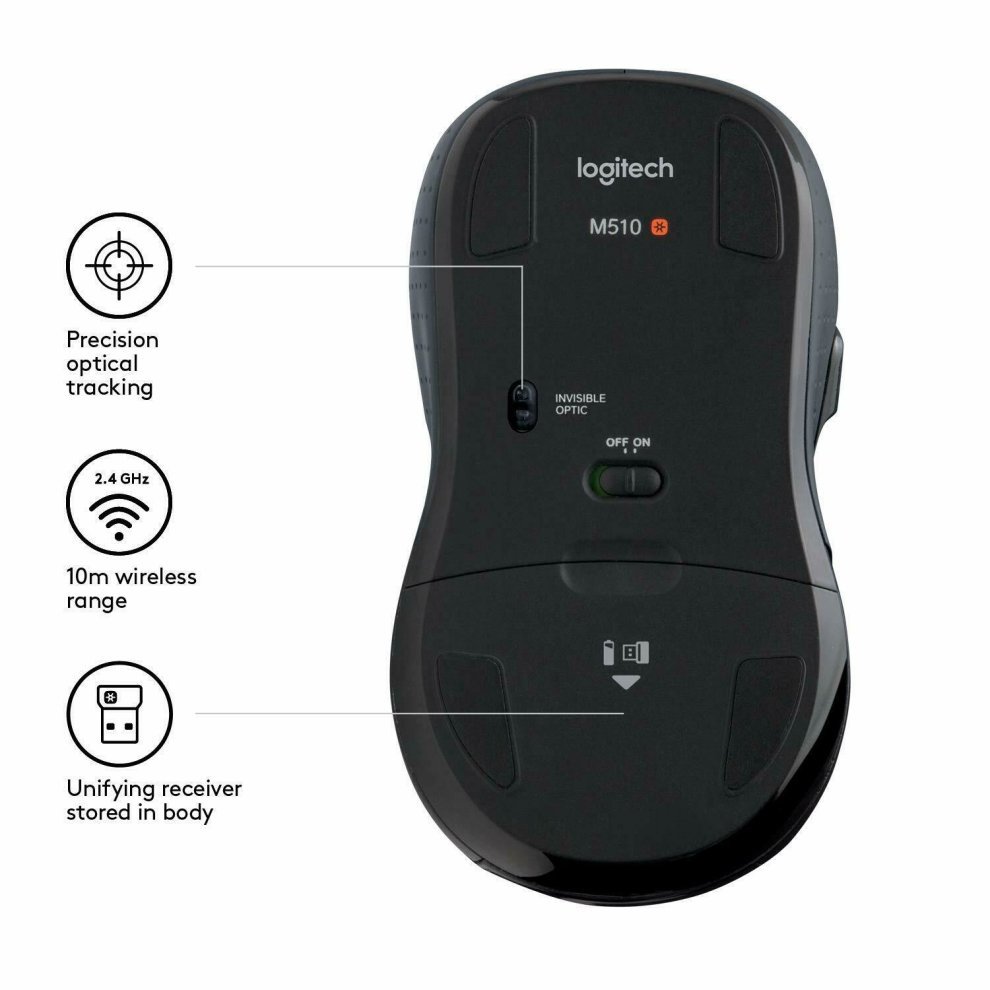 38290bab9f6 ... Logitech M510 Full size Laser Wireless Mouse USB Receiver Unifying - 4  ...
