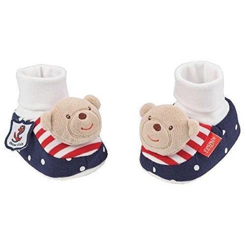 Fehn Rattle Booties Teddy (Navy)