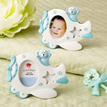 Adorable Blue Airplane Design Photo Frame With Teddy Bear Decoration