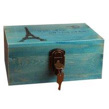 Creative Woody Retro Safe Lock Box Desktop Cosmetics Box Jewelry Box-B/T