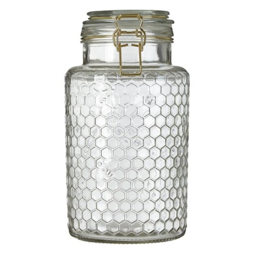 Large Apiary Gold-Tone Wire Honeycomb Pattern Jar | Storage Jar With Lid