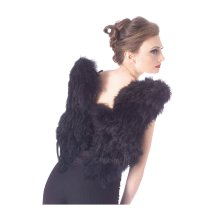 One Size Black Adults Soft Feather Wings -  black wings feather womens ladies angel fancy dress fairy costume accessory soft