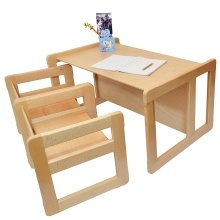 Obique Multifunctional Furniture: 2 Chairs & 1 Large Table,Natural