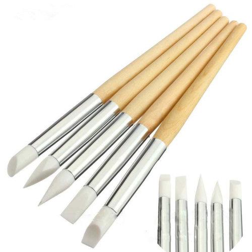 5Pcs Silicone Gel Nail Dotting Pen Carving Pen Engraving Hollow Tools Manicure Set
