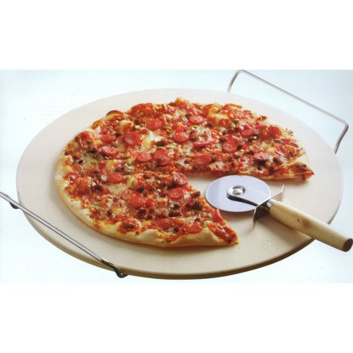 Typhoon Living Set – Includes 13 Inch Pizza Baking Stone and Cutter, Cream, 35.5 x 35.5 x 4.1 cm