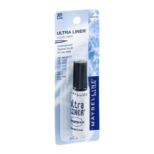 Maybelline Ultra Liner Liquid Waterproof Eyeliner, Black [301], 0.25 oz (Pack of 12)