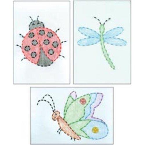 436382 Stamped Embroidery Kit Beginner Samplers 6 in. x 8 in. 3-Pkg-Cute As A Bug