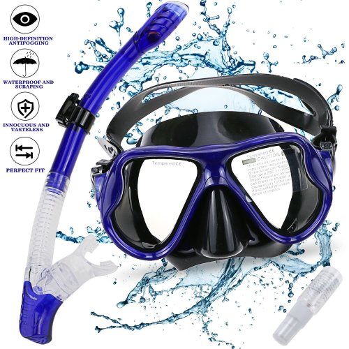 Gifort Snorkel Set, Snorkel Mask, Snorkeling Mask with Tempered Glass, Anti-fog Diving Mask for Men and Women, Crystal Clear View & Easy Adjustable...