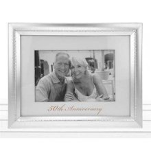 Beaded 50th Anniversary Photo Frame In Matt silver