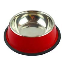 Little Stainless Steel Bowl Set Feeding Pot/Pet Bowl/Dog Bowl/Cat Bowl For Food & Water M Size (Red)