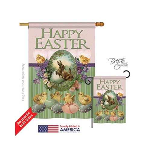 Breeze Decor 03053 Easter Bunny with Chicks 2-Sided Vertical Impression House Flag - 28 x 40 in.