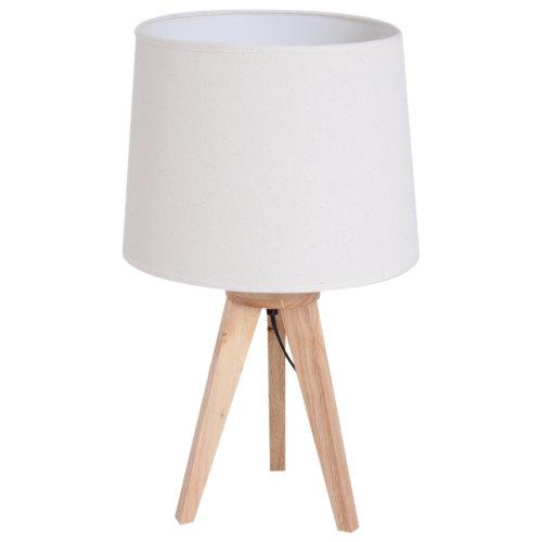HOMCOM Bedside Table Lamp DresserSolid Oak Wood Holder Soft Light Glow E27 Base Bedroom Living Room Cream