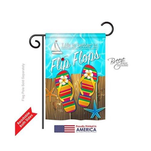 Summer Better in Flip Flops 2-Sided Impression Garden Flag - 13 x 18.5 in.