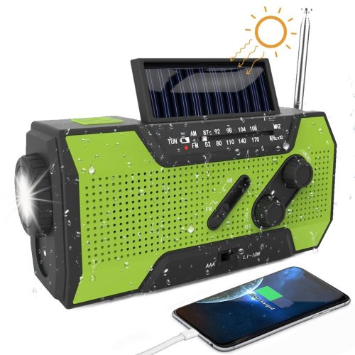 Portable Emergency Radio, Solar Power Hand Crank USB Charge Radio, Small Size with AM/FM Tuner, 2000mAh Power Bank, LED Torch, SOS Alarm and 4 LED...