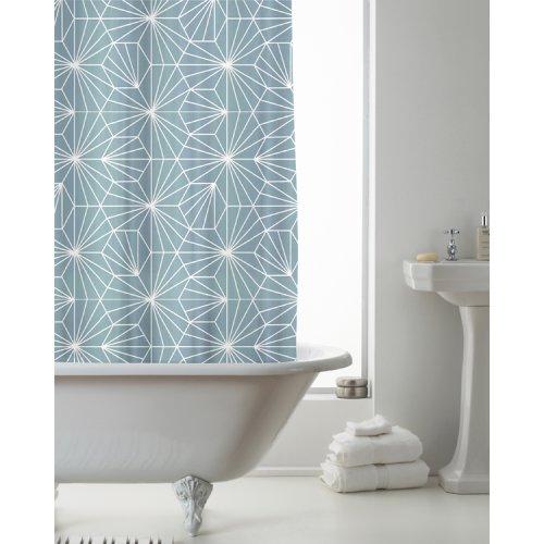 Country Club Shower Curtain Skandi Geo Teal 180 x 180cm