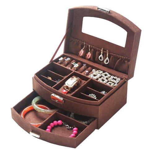 Portable Stylish Jewelry Box Ornaments Storage Boxes Jewelry Organizer -Coffee