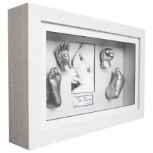 BabyRice 3D Baby Casting Kit with Deluxe Deep Box White Wooden Frame - Silver Casts
