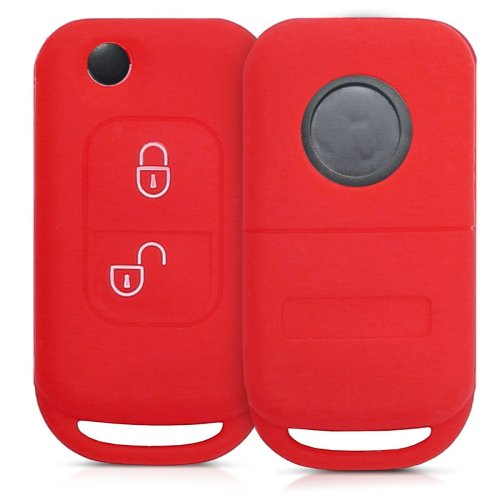 kwmobile Mercedes Benz Car Key Cover - Silicone Protective Key Fob Cover for Mercedes-Benz 2 Button Flip Key - Red
