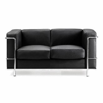 Eliza Tinsley Belmont Reception Sofa | Black Cubed Leather 2-Seater