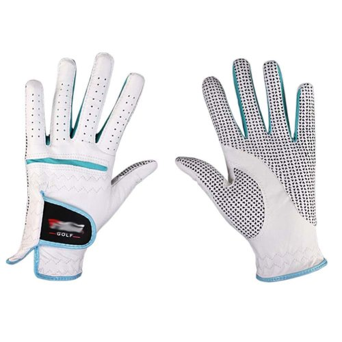 Professional High Quality Women Golf Gloves Golf Gift, White&Blue(#21)