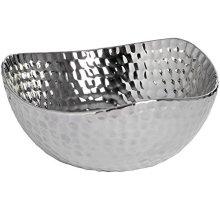 Silver Ceramic Dimple Effect Display Bowl -  silver ceramic dimple effect display bowl