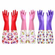 Rubber Gloves Cleaning Gloves Waterproof Gloves Kitchen Laundry Gloves,Pink