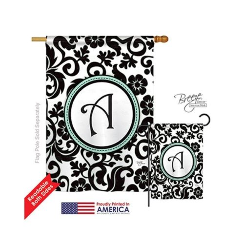 Breeze Decor 30053 Damask A Monogram 2-Sided Vertical Impression House Flag - 28 x 40 in.