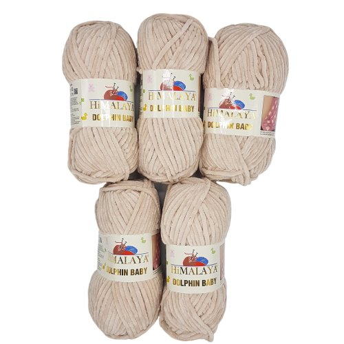 5 x 100 g Himalaya dolphin baby wool, knitting wool, yarn, knitting wool, 500 g, super bulky, Light Beige, 35_x_25 CM